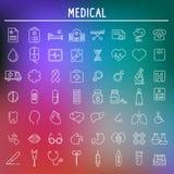medische geplaatste pictogrammen, symbolen Vector Royalty-vrije Stock Foto's