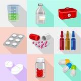 Medische geplaatste pillenpictogrammen, isometrische stijl Stock Afbeeldingen