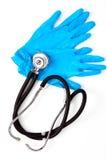 Medische handschoenen en stethoscoop Stock Fotografie