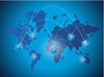 Medische het netwerkillustratie van de wereldkaart Stock Afbeeldingen