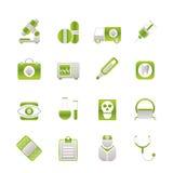 Medische, het ziekenhuis en gezondheidszorgpictogrammen Stock Foto's