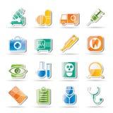 Medische, het ziekenhuis en gezondheidszorgpictogrammen Royalty-vrije Stock Afbeeldingen