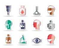 Medische, het ziekenhuis en gezondheidszorgpictogrammen Stock Afbeeldingen