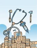 Medische hulpmiddelen en de bouw stock illustratie