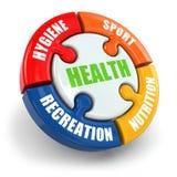 Medische infographic. De gezondheid is sport, hygiëne, voeding en rec Stock Afbeeldingen