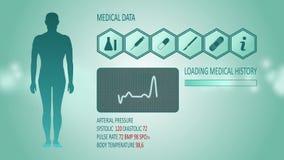 Medische interface met menselijk lichaam, cardiogram 4K vector illustratie