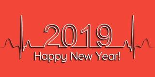 Medische Kerstmisbanner, het gelukkige nieuwe jaar van 2019, de vectorhartslag van de de gezondheids medische stijl van 2019, con royalty-vrije illustratie