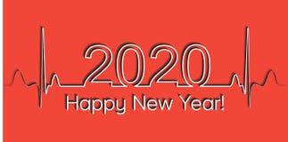 Medische Kerstmisbanner, het gelukkige nieuwe jaar van 2020, de vectorhartslag van de de gezondheids medische stijl van 2020, con royalty-vrije illustratie