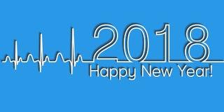 Medische Kerstmisbanner, het gelukkige nieuwe jaar van 2018, vector van de de gezondheids medische stijl van 2018 de golfcardiolo Royalty-vrije Stock Afbeelding