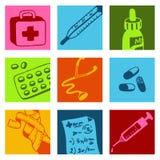 Medische kleurenpictogrammen Stock Foto's