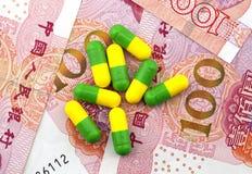 Medische kost, geneesmiddelen en renminbi royalty-vrije stock fotografie