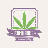 Medische marihuana Cannabisembleem of kentekenmalplaatje met blad Stock Afbeeldingen