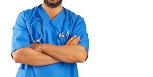 Medische medewerker met stethoscoop stock afbeelding