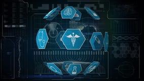 Medische pictogrammen en futuristische interface stock illustratie