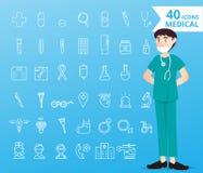 40 medische pictogrammen en gezondheidszorg voor infographic stock illustratie