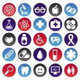 medische pictogrammen en tekens Stock Afbeeldingen