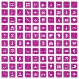 100 medische pictogrammen geplaatst grunge roze Stock Foto's