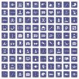 100 medische pictogrammen geplaatst grunge saffier Royalty-vrije Stock Fotografie