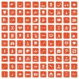 100 medische pictogrammen geplaatst grunge sinaasappel Royalty-vrije Stock Foto