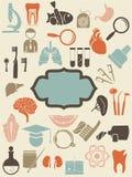 Medische pictogrammen met lege blauwe banner voor u Stock Foto's