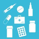 Medische pictogrammen op achtergrond Stock Afbeelding