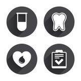 Medische pictogrammen Tand, reageerbuis, bloeddonatie Royalty-vrije Stock Afbeeldingen