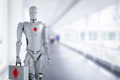Medische robot met rood kruisteken royalty-vrije illustratie