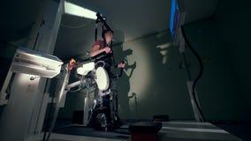 Medische spoorsimulator met een mens die het gebruiken voor rehabilitatie Medisch terugwinningsconcept stock footage