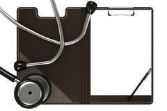 Medische stethoscoop en witte vorm Stock Afbeelding