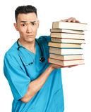 Medische student met boeken Stock Afbeeldingen