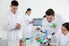 Medische studenten die in moderne wetenschappelijk werken stock foto