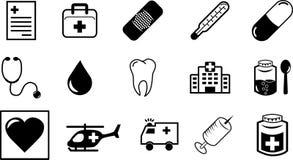 Medische symbolen en pictogrammen Stock Foto's