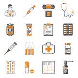 Medische twee geplaatste kleurenpictogrammen Stock Afbeelding