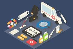 Medische vector geplaatste pictogrammen Infographic gezondheidszorg Stock Foto
