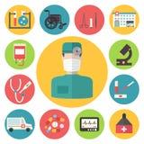 Medische vector geplaatste pictogrammen Infographic gezondheidszorg Stock Fotografie