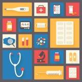 Medische vector geplaatste pictogrammen Ziekenwagen en Royalty-vrije Stock Fotografie