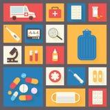 Medische vector geplaatste pictogrammen Ziekenwagen en apotheek Stock Afbeeldingen