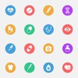 Medische vector vlakke pictogrammen op de reeks van het kleurensubstraat van 16 Royalty-vrije Stock Foto's