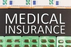 Medische verzekeringstekst als gezondheidszorgconcept royalty-vrije stock afbeelding