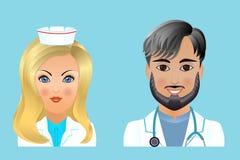 Medische vlakke avatars van het kliniekpersoneel van artsen, verpleegsters, chirurg, a Stock Foto