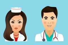 Medische vlakke avatars van het kliniekpersoneel van artsen, verpleegsters, chirurg, a Stock Afbeelding