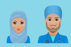 Medische vlakke avatars van het kliniekpersoneel van artsen, verpleegsters, chirurg, a Stock Afbeeldingen