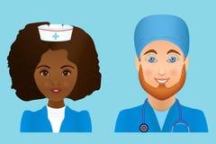 Medische vlakke avatars van het kliniekpersoneel van artsen, verpleegsters, chirurg, a Royalty-vrije Stock Foto