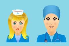 Medische vlakke avatars van het kliniekpersoneel van artsen, verpleegsters, chirurg, a Royalty-vrije Stock Fotografie