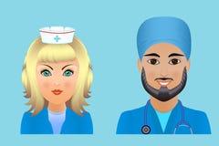 Medische vlakke avatars van het kliniekpersoneel van artsen, verpleegsters, chirurg, a Stock Fotografie