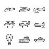 Medische Ziekenwagenvliegtuigen en schip vastgestelde pictogrammen Royalty-vrije Stock Fotografie