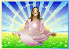 Meditação da menina ilustração do vetor