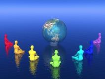 Meditação de Chakra para a terra - 3D rendem ilustração do vetor