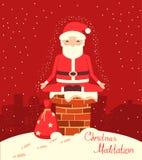 Meditação de Santa Claus na chaminé na noite de Natal ilustração royalty free