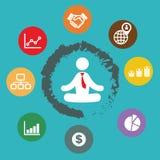 Meditação do homem de negócios Fotografia de Stock Royalty Free